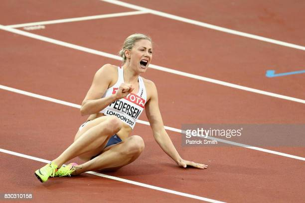 Isabelle Pedersen of Norway reacts after competing in the Women's 100 metres hurdles semi finals during day eight of the 16th IAAF World Athletics...