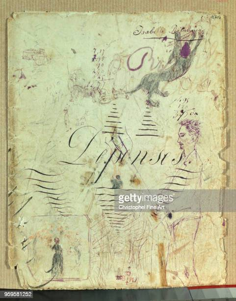 Isabelle Rimbaud 19th century Arthur Rimbaud Helping With The Harvest Page from an Expenditure Notebook Violet Ink Drawing CharlevilleMezieres...