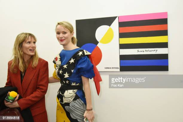 Isabelle Teodorescu and Pauline de Drouas attend I Want The Empire of Collaborations Jean Charles de Castelbajac Exhibition Preview at Galerie Magda...