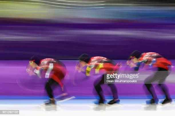Isabelle Weidemann Ivanie Blondin and Josie Morrison of Canada compete during the Ladies' Team Pursuit Speed Skating Quarterfinals on day 10 of the...