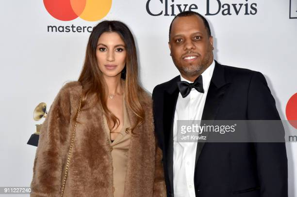 Isabelle Wilson and music producer No ID attend the Clive Davis and Recording Academy PreGRAMMY Gala and GRAMMY Salute to Industry Icons Honoring...
