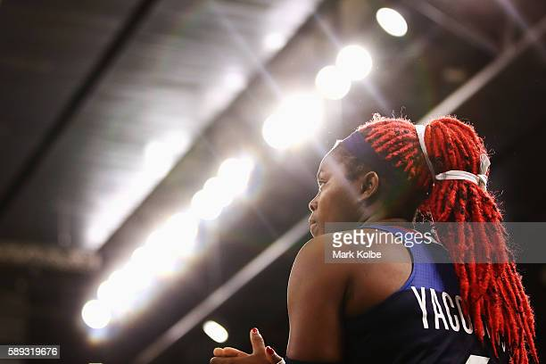 Isabelle Yacoubou of France watches on during the Women's round basketball match between Japan and France on Day 7 of the Rio 2016 Olympic Games at...