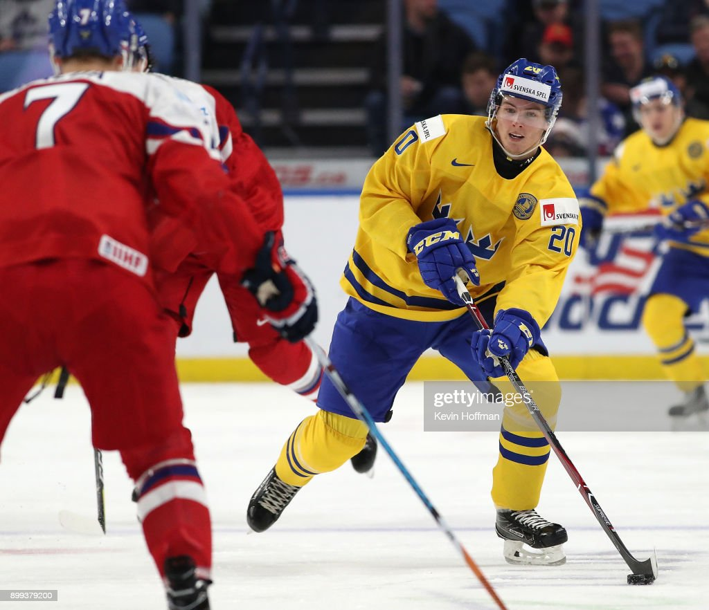 Isac Lundestrom #20 of Sweden skates up ice with the puck in the third period against Czech Republic during the IIHF World Junior Championship at KeyBank Center on December 28, 2017 in Buffalo, New York. Sweden beat Czech Republic 3-1.