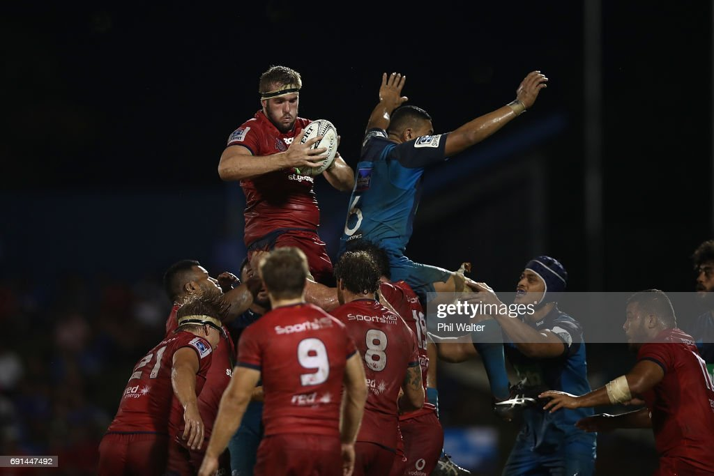 Isack Rodda of the Reds takes the ball in the lineout during the round 15 Super Rugby match between the Blues and the Reds at Apia Park National Stadium on June 2, 2017 in Apia, Samoa.