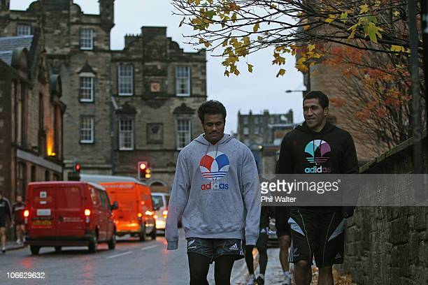 Isaia Toeava and Mils Muliaina of the All Blacks walk home from a New Zealand All Blacks Recovery Session at The Pleasance on November 8 2010 in...