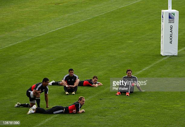 Isaia Toeava Mils Muliaina Jimmy Cowan Israel Dagg and Zac Guildford relax on the field during a New Zealand IRB Rugby World Cup 2011 captain's run...