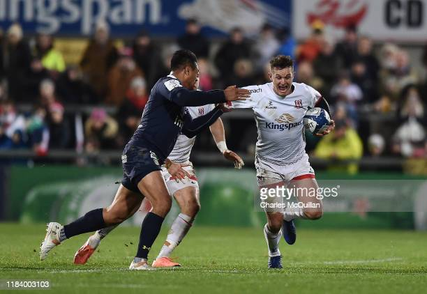 Isaia Toeava of ASM Clermont Auvergne and Billy Burns of Ulster during the Heineken Champions Cup Round 2 match between Ulster Rugby and ASM Clermont...