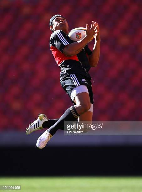 Isaia Toeava of the All Blacks takes a catch during the New Zealand All Blacks Captains Run at the Nelson Mandela Bay Stadium on August 19, 2011 in...