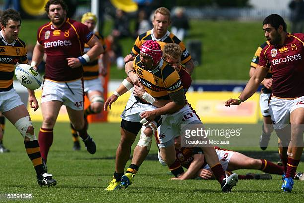 Isaia Tuifua of Taranaki makes a break during the round 13 ITM Cup match between Southland and Taranaki at Rugby Park Stadium on October 7 2012 in...