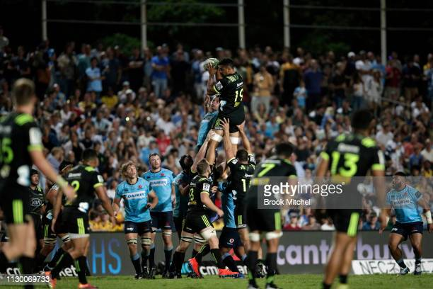 Isaia WalkerLeawere of the Hurricanes takes a line dropout during the round one Super Rugby match between the Waratahs and the Hurricanes at...
