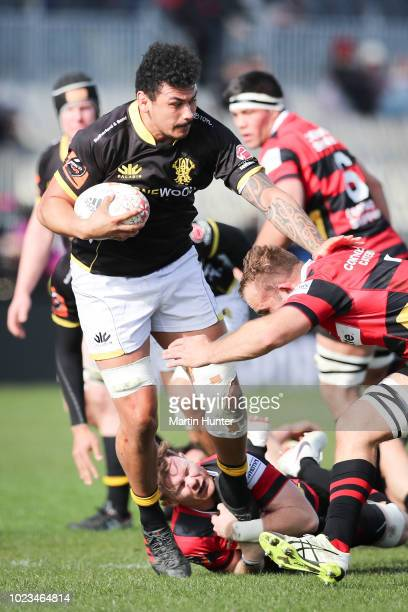 Isaia WalkerLeawere of Wellington is tackled by Mitchell Drummond and Tom Christie both of Canterbury during the round two Mitre 10 Cup match between...