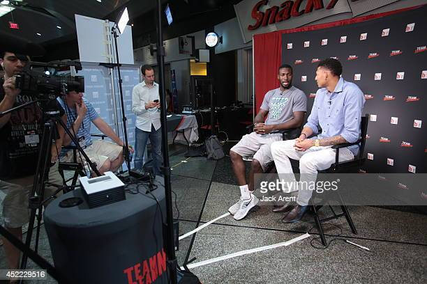Isaiah Austin sits down for an interview during the Samsung Las Vegas Summer League games on July 14 2014 at the Thomas Mack Center in Las Vegas...