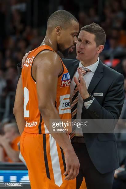 Isaiah Briscoe of Ratiopharm Ulm and Headcoach Jaka Lakovic of Ratiopharm Ulm gestures during the EasyCredit Basketball Bundesliga match between...