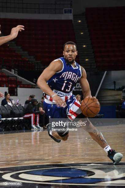Isaiah Briscoe of the Greensboro Swarm dribbles against the Lakeland Magic during the game on November 16 2018 at RP Funding Center in Lakeland...