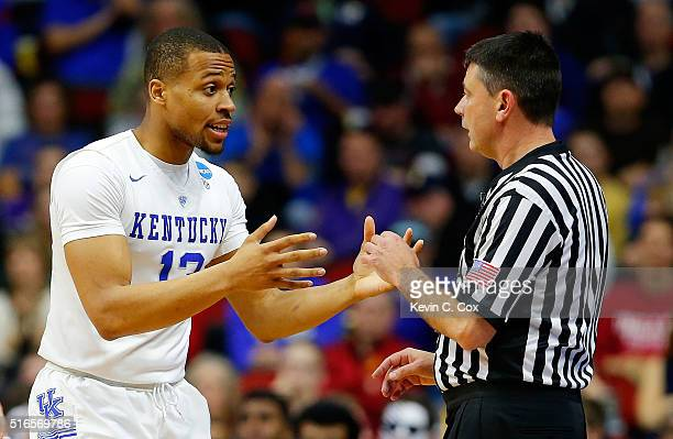 Isaiah Briscoe of the Kentucky Wildcats argues a call in the second half against the Indiana Hoosiers during the second round of the 2016 NCAA Men's...