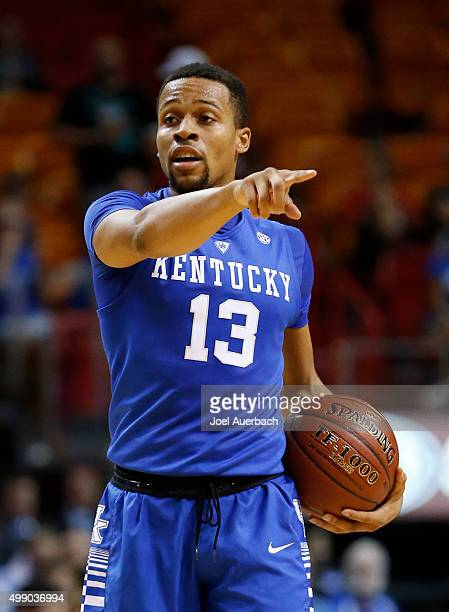 Isaiah Briscoe of the Kentucky Wildcats calls a play as he brings the ball up court against the South Florida Bulls on November 27 2015 at the...