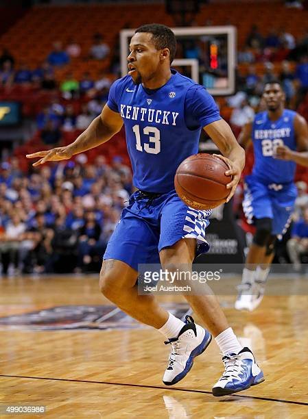 Isaiah Briscoe of the Kentucky Wildcats dribbles the ball against the South Florida Bulls on November 27 2015 at the American Airlines Arena in Miami...