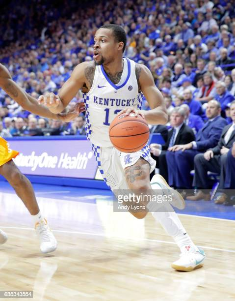 Isaiah Briscoe of the Kentucky Wildcats dribbles the ball against the Tennessee Volunteers at Rupp Arena on February 14 2017 in Lexington Kentucky