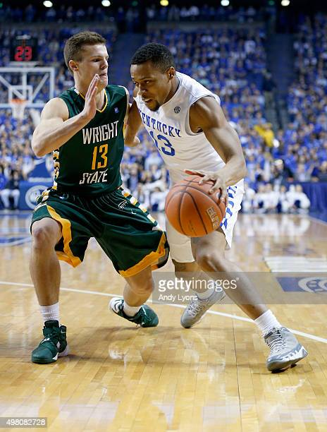 Isaiah Briscoe of the Kentucky Wildcats dribbles the ball during the game against the Wright State Raiders at Rupp Arena on November 20 2015 in...