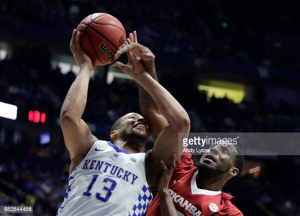 Isaiah Briscoe of the Kentucky Wildcats drives against Arlando Cook of the Arkansas Razorbacks during the championship game at the 2017 Men's SEC...