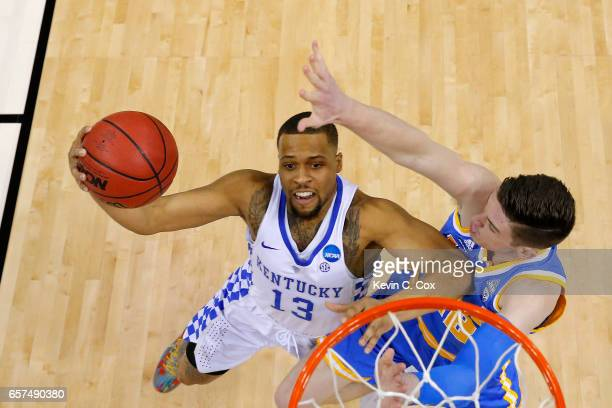 Isaiah Briscoe of the Kentucky Wildcats drives to the basket against TJ Leaf of the UCLA Bruins in the first half during the 2017 NCAA Men's...