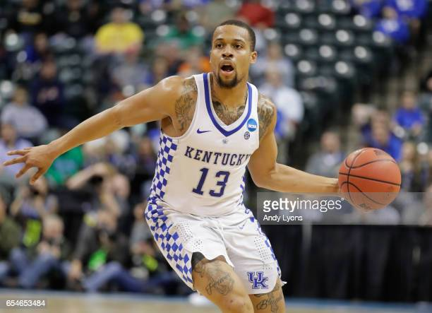 Isaiah Briscoe of the Kentucky Wildcats handles the ball in the second half against the Northern Kentucky Norse during the first round of the 2017...