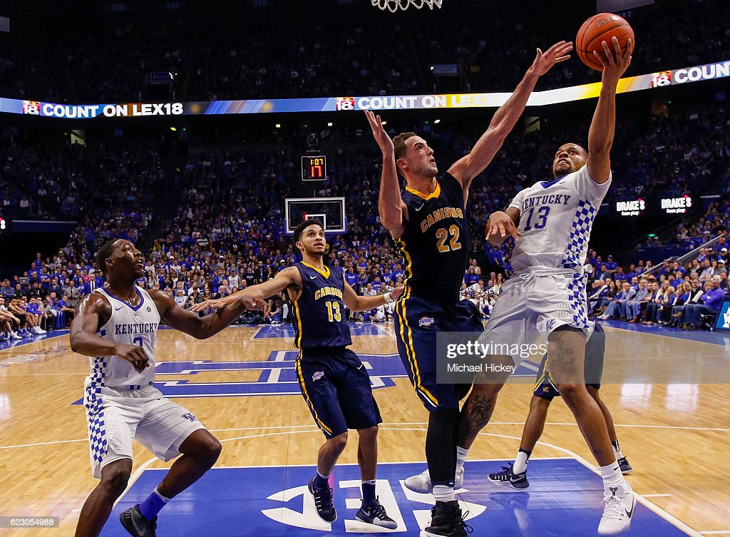 Isaiah Briscoe #13 of the Kentucky Wildcats shoots the ball against Phil Valenti #22 of the Canisius Golden Griffins at Rupp Arena Stadium on November 13, 2016 in Lexington, Kentucky. Kentucky defeated Canisius 93-69.