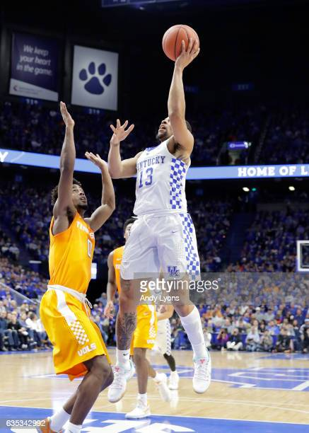 Isaiah Briscoe of the Kentucky Wildcats shoots the ball against the Tennessee Volunteers at Rupp Arena on February 14 2017 in Lexington Kentucky