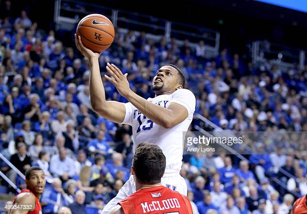 Isaiah Briscoe of the Kentucky Wildcats shoots the ball during the game Illinois State Redbirds at Rupp Arena on November 30 2015 in Lexington...