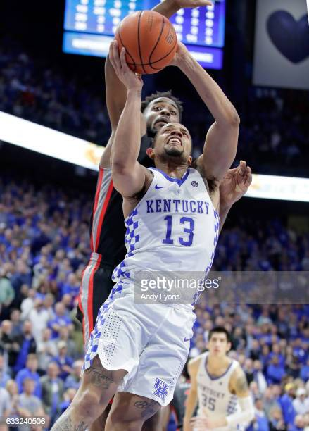 Isaiah Briscoe of the Kentucky Wildcats shoots the ball during the game against the Georgia Bulldogs at Rupp Arena on January 31 2017 in Lexington...