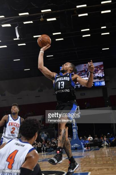 Isaiah Briscoe of the Lakeland Magic shoots against the Westchester Knicks during the game on November 4 2018 at RP Funding Center in Lakeland...