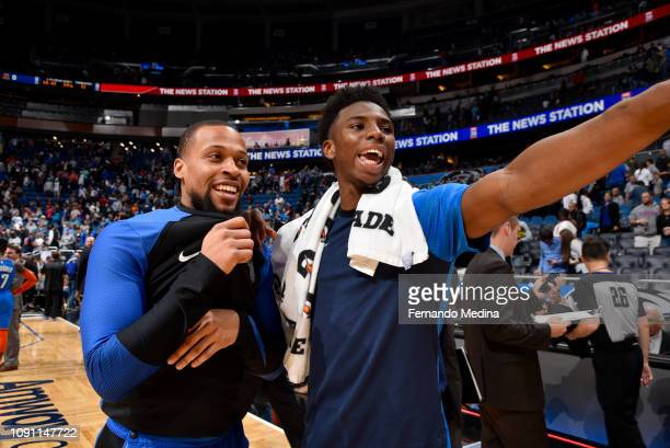 Isaiah Briscoe of the Orlando Magic and Hamidou Diallo of the Oklahoma City Thunder talk after the game on January 29 2019 at Amway Center in Orlando...