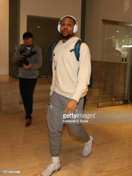 Isaiah Briscoe of the Orlando Magic arrives as part of the NBA Mexico Games 2018 on December 11 2018 at the Hyatt Regency Hotel in Mexico City Mexico...