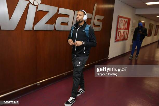 Isaiah Briscoe of the Orlando Magic arrives to the arena prior to the game against the Washington Wizards on November 12 2018 at Capital One Arena in...