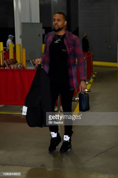 Isaiah Briscoe of the Orlando Magic arrives to the game against the Houston Rockets on January 27 2019 at the Toyota Center in Houston Texas NOTE TO...