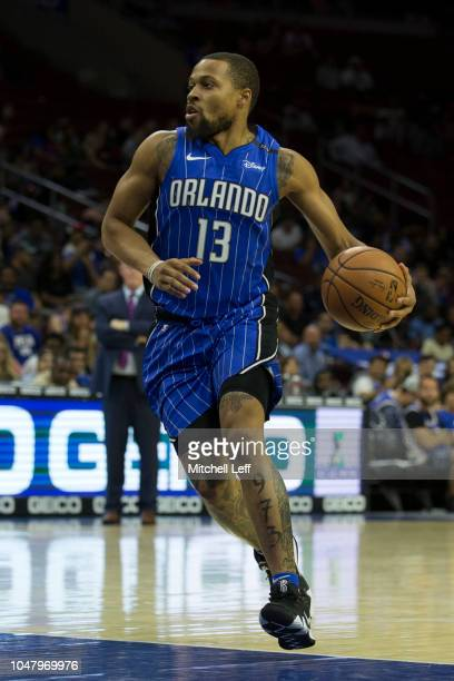 Isaiah Briscoe of the Orlando Magic dribbles the ball against the Philadelphia 76ers during the preseason game at Wells Fargo Center on October 1...