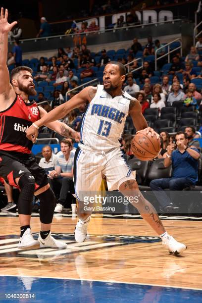 Isaiah Briscoe of the Orlando Magic drives to the basket against Flamengo during a preseason game at the Amway Center in Orlando Florida on October 5...