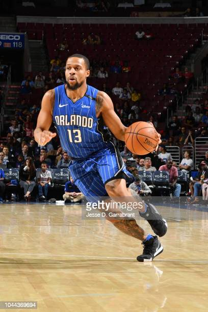 Isaiah Briscoe of the Orlando Magic handles the ball against the Philadelphia 76ers during a preseason game on October 1 2018 at the Wells Fargo...