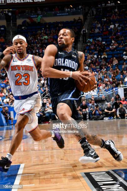 Isaiah Briscoe of the Orlando Magic handles the ball against the New York Knicks on November 18 2018 at Amway Center in Orlando Florida NOTE TO USER...