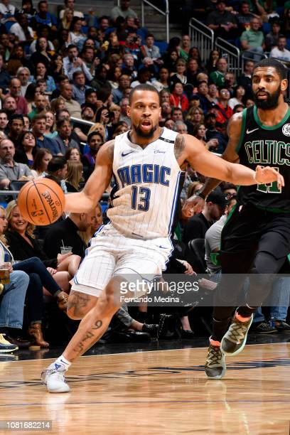 Isaiah Briscoe of the Orlando Magic handles the ball during the game against the Boston Celtics on January 12 2019 at Amway Center in Orlando Florida...