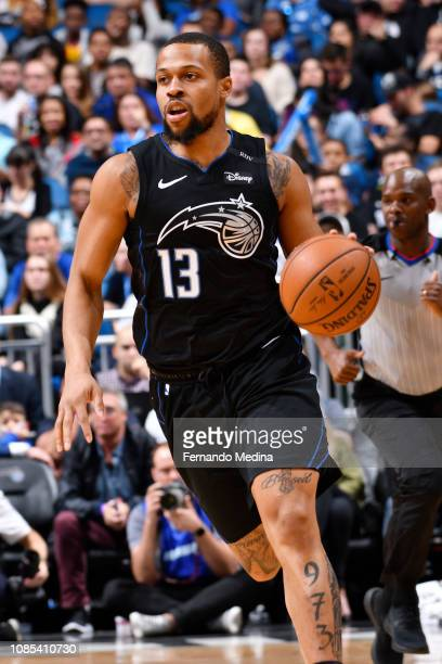 Isaiah Briscoe of the Orlando Magic handles the ball during the game against the Milwaukee Bucks on January 19 2019 at Amway Center in Orlando...