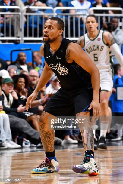 Isaiah Briscoe of the Orlando Magic plays defense against during the game against the Milwaukee Bucks on January 19 2019 at Amway Center in Orlando...