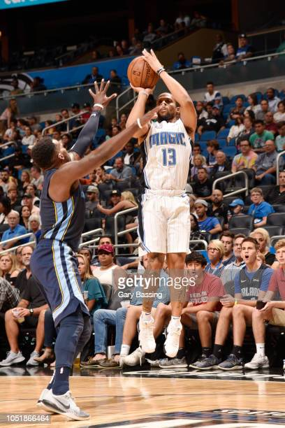 Isaiah Briscoe of the Orlando Magic shoots the ball against the Memphis Grizzlies during a preseason game on October 10 2018 at Amway Center in...