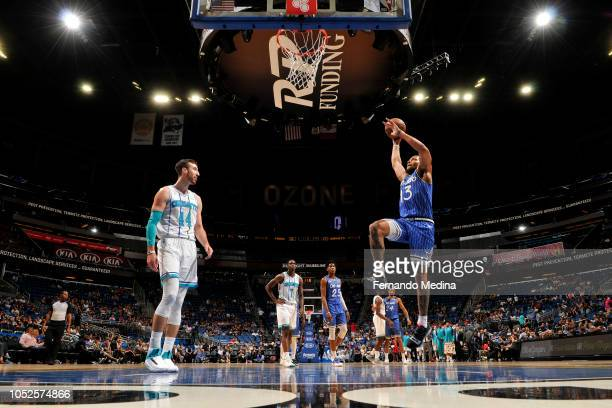 Isaiah Briscoe of the Orlando Magic shoots the ball against the Charlotte Hornets during a game on October 19 2018 at Amway Center in Orlando Florida...