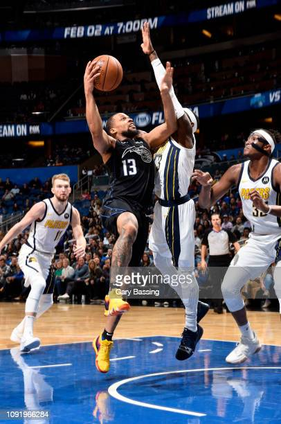 Isaiah Briscoe of the Orlando Magic shoots the ball during the game against the Indiana Pacers on January 31 2019 at Amway Center in Orlando Florida...
