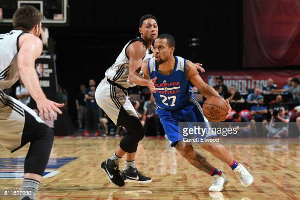 Isaiah Briscoe of the Philadelphia 76ers handles the ball against the San Antonio Spurs during the 2017 Las Vegas Summer League on July 9 2017 at the...