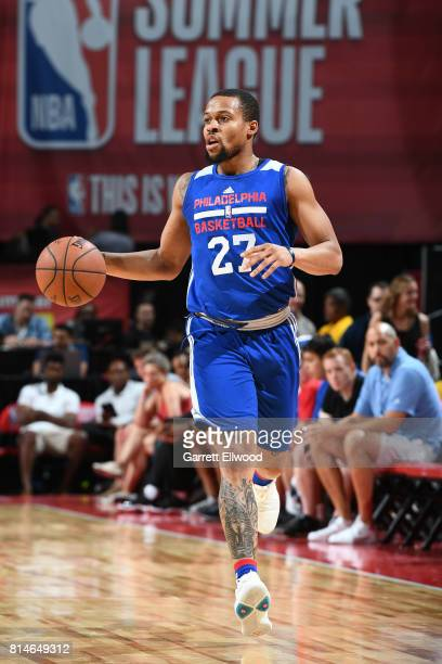 Isaiah Briscoe of the Philadelphia 76ers handles the ball against the Chicago Bulls on July 14 2017 at the Thomas Mack Center in Las Vegas Nevada...