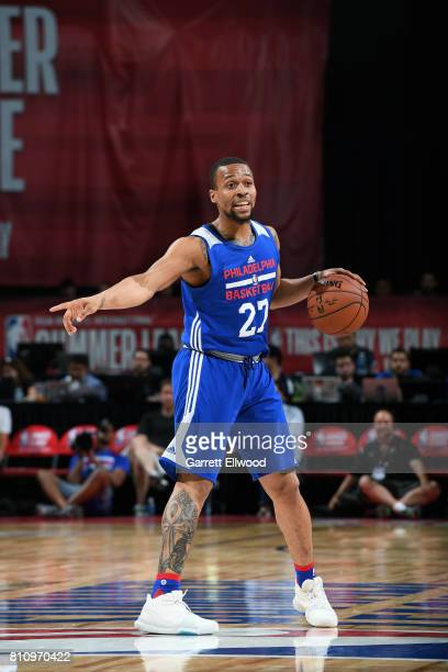Isaiah Briscoe of the Philadelphia 76ers handles the ball during the game against the Golden State Warriors during the 2017 Las Vegas Summer League...