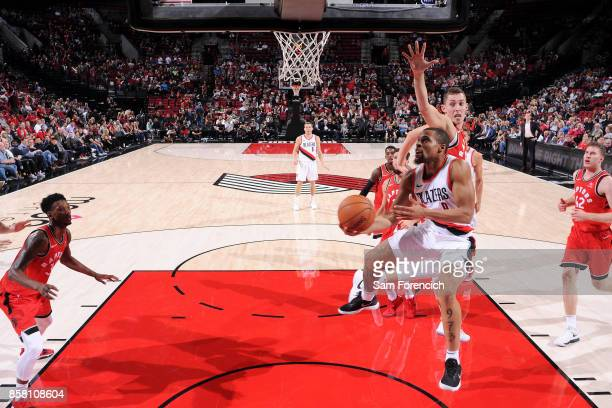 Isaiah Briscoe of the Portland Trail Blazers goes for a lay up during the game against the Toronto Raptors during a preseason game on October 5 2017...