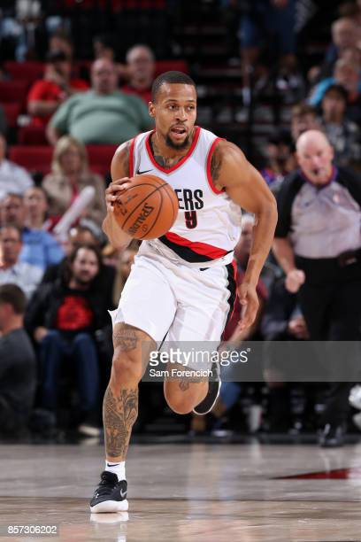 Isaiah Briscoe of the Portland Trail Blazers handles the ball against the Phoenix Suns on October 3 2017 at the Moda Center in Portland Oregon NOTE...